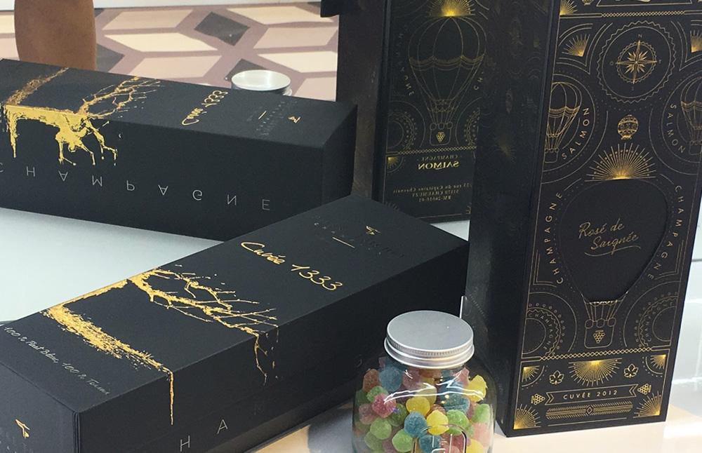 Packaging sur mesure étuis Champagne Salmon & Pierre Trichet